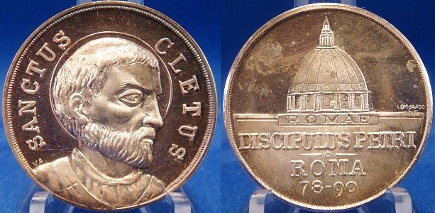 Pope Cletus (78-90) Silver Medal c.1955 Photo