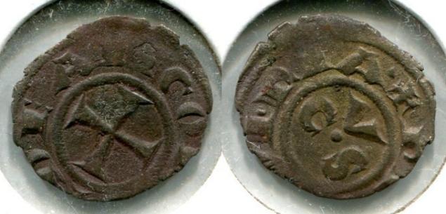(1200-1400) Italy Ancona Silver Denaro VF Photo