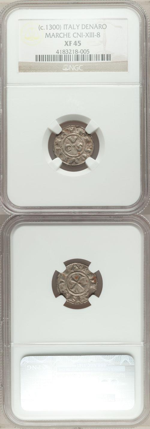 (ca. 1300) Italy Ancona Silver Denaro NGC XF45 Photo