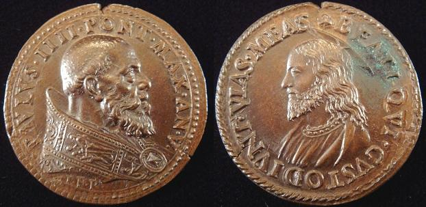 Paul IV (1555-59) A.V Bronze Papal Medal Photo