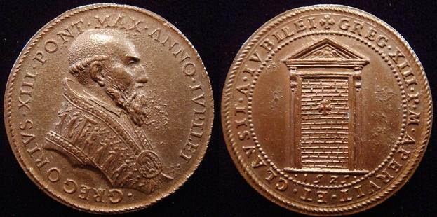 Gregory XIII (1572-85) 1575 Holy Year Bronze Medal Photo