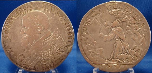 Sixtus V 1588 Piastra St. Francis Stigmata Coin Photo
