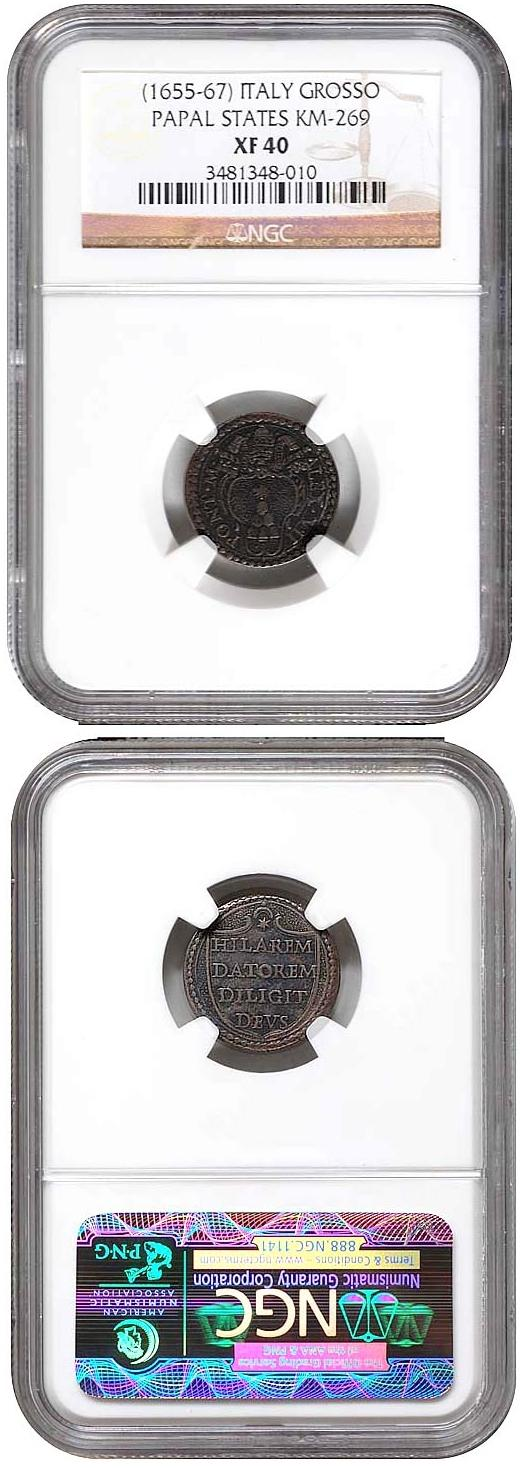 Alexander VII (1655-67) Ag Grosso Coin NGC XF40 Photo
