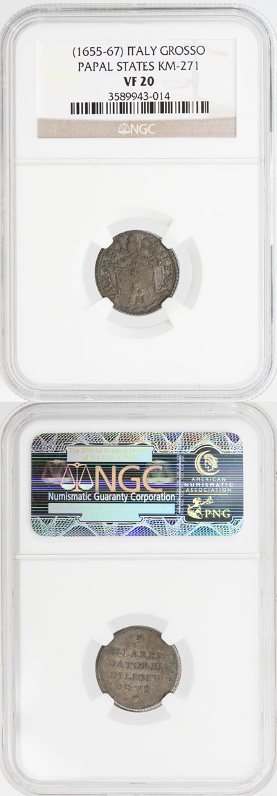 Alexander VII (1655-67) Silver Grosso VF20 Photo
