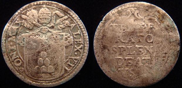 Alexander VII (1655-67) Mezzo Grosso Silver Coin Photo