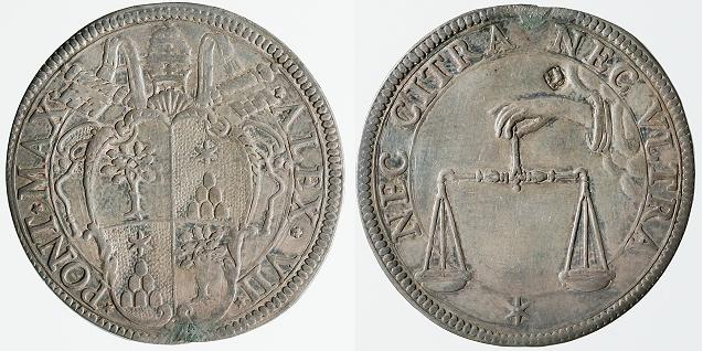 Alexander VII (1655-67) Testone, Papal Coin Photo