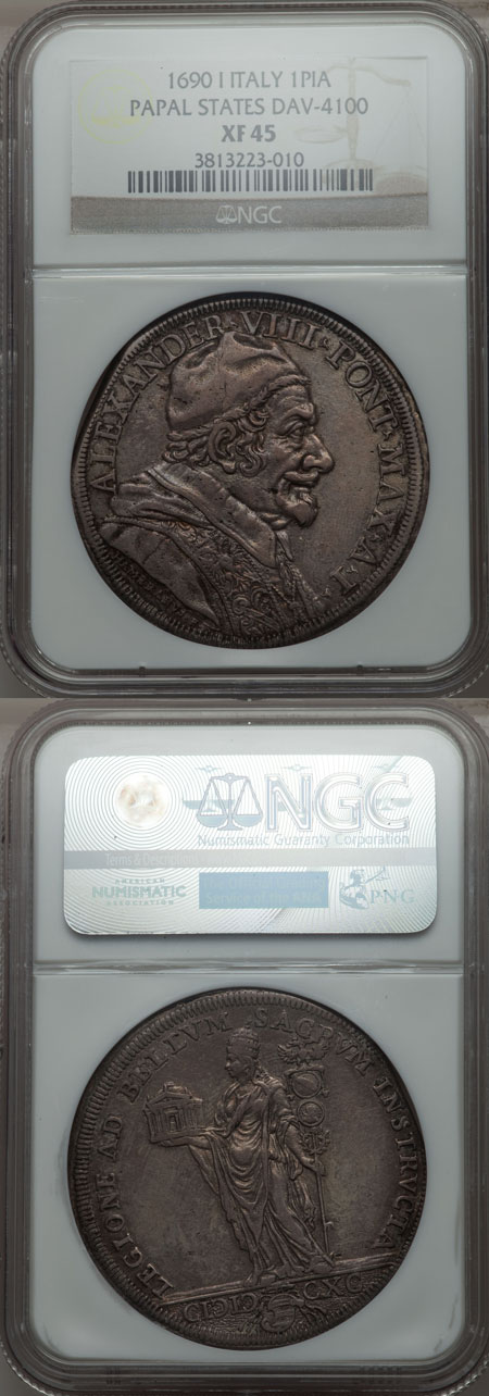 Alexander VIII 1690 Piastra NGC XF45 Photo