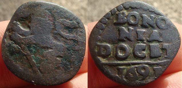 Innocent XII 1691 Quattrino, Papal Coin Photo