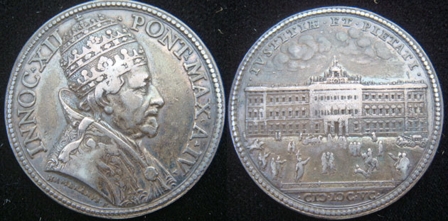 Innocent XII 1695 Silver Medal ORIGINAL Photo