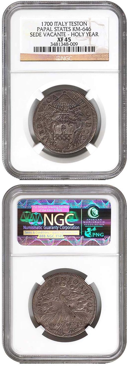 1700 Sede Vacante Silver Testone NGC XF45 Photo