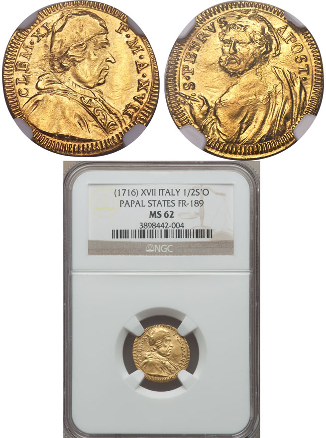 Clement XI 1716 Gold Half Scudo NGC MS62 Photo