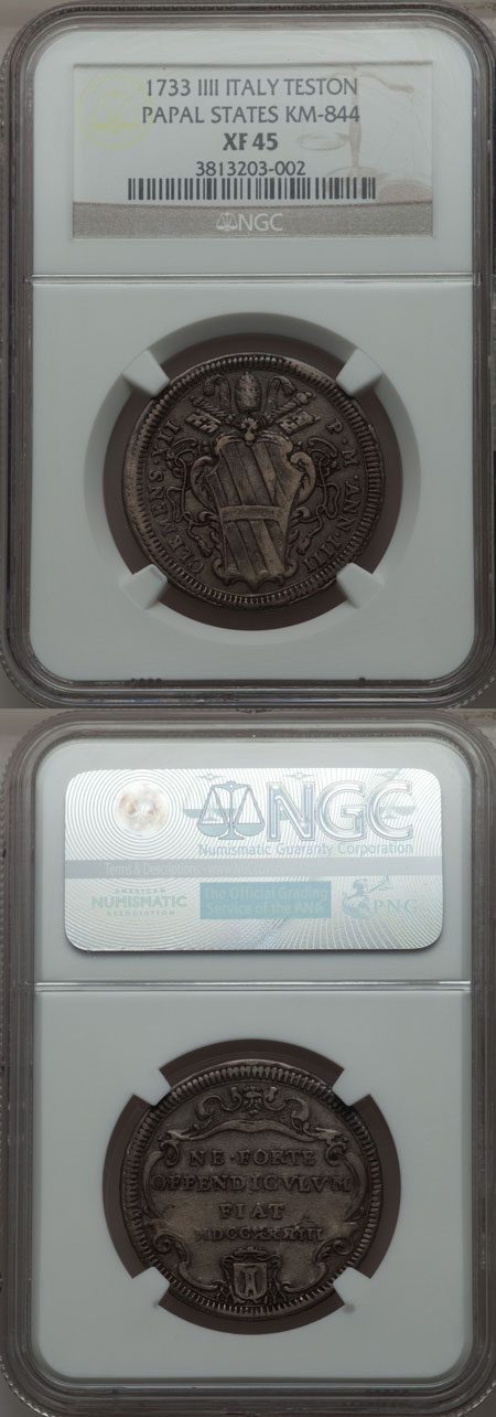 Clement XII 1733 Testone NGC XF45 Photo