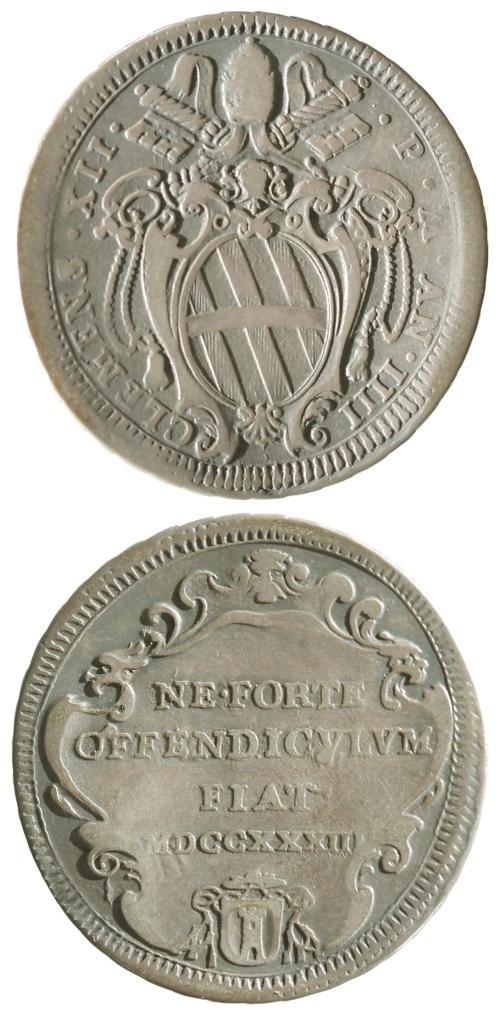 Clement XII 1733 Testone VF Photo