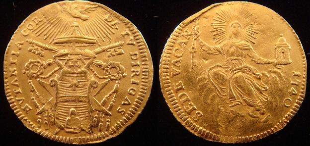 1740 Sede Vacante Gold Zecchino Coin Photo