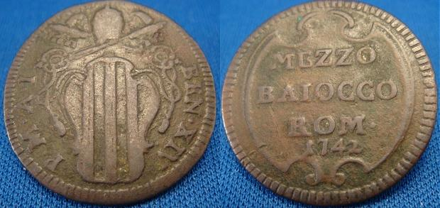 Benedict XIV 1742 Mezzo Baiocco VF Photo
