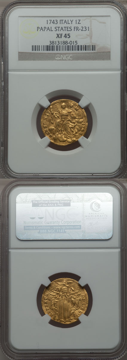 Benedict XIV 1743 Gold Zecchino NGC XF45 Photo