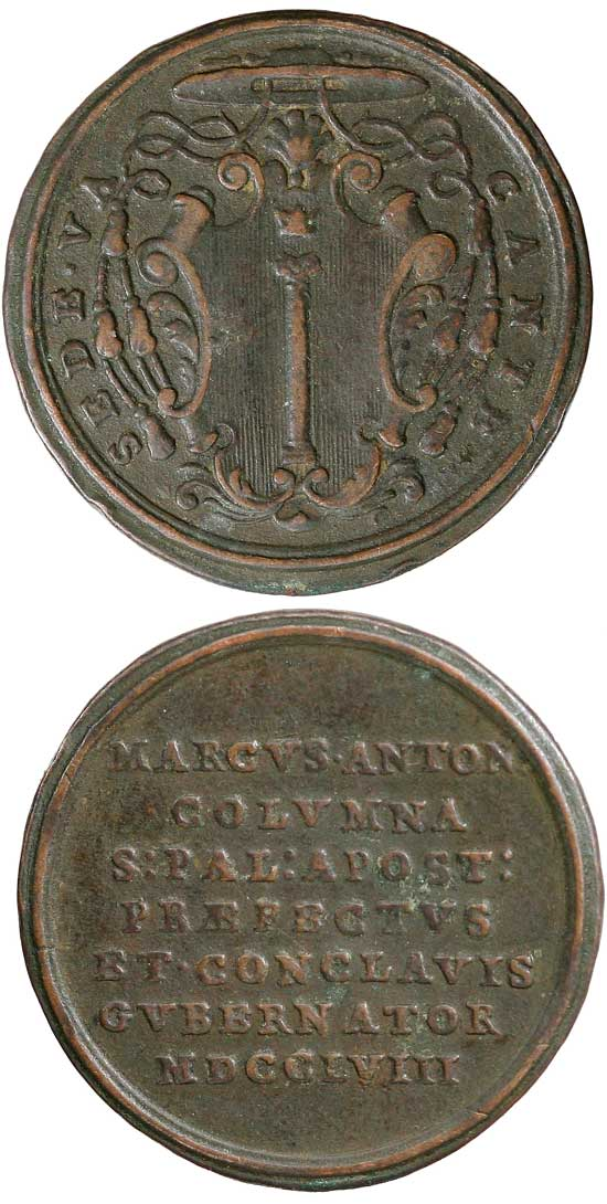 1758 Sede Vacante Prefect Colonna Medal Photo