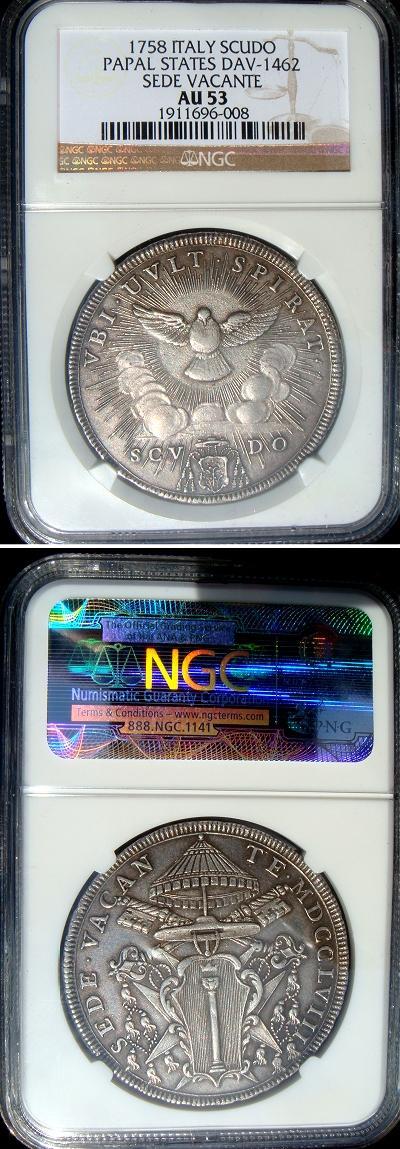 1758 Sede Vacante Scudo Romano Coin AU Photo
