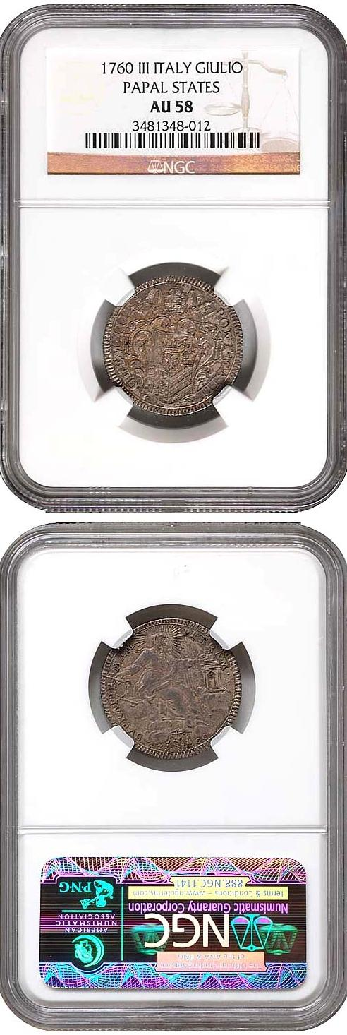 Clement XIII 1760 Giulio NGC AU58 Photo