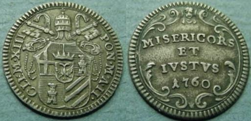 Clement XIII 1760 Silver Grosso Coin Photo