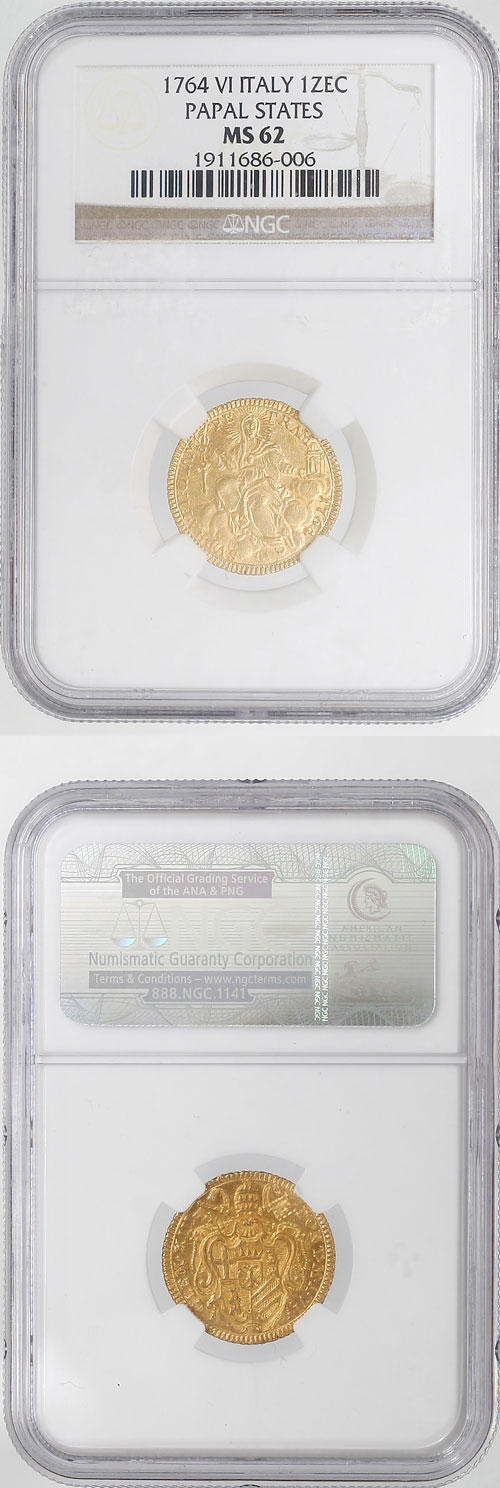Clement XIII 1764 Gold Zecchino NGC MS62 Photo
