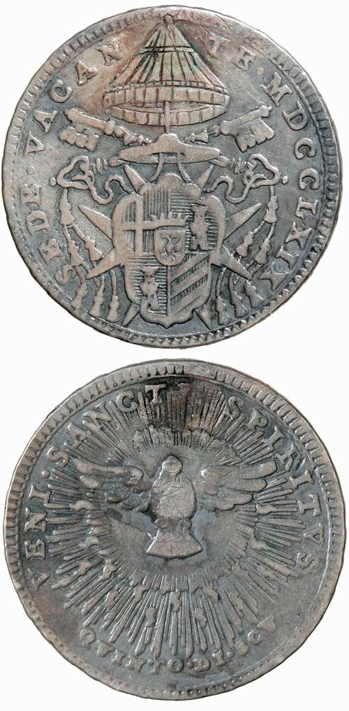 1769 Sede Vacante 1/5 Scudo Coin Photo