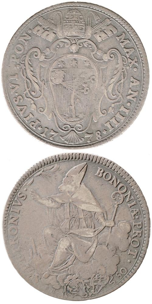 Pius VI 1778 Mezzo Scudo Bologna VF Photo
