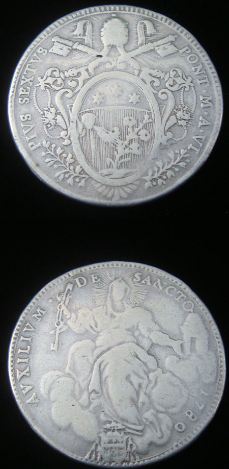 Pius VI 1780 Silver Scudo Coin VF/F Photo
