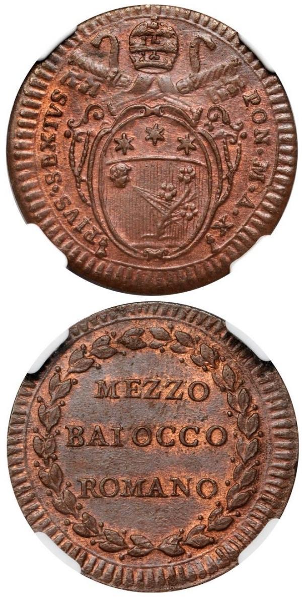 Pius VI 1784 Half Baiocco MS64 BN Photo