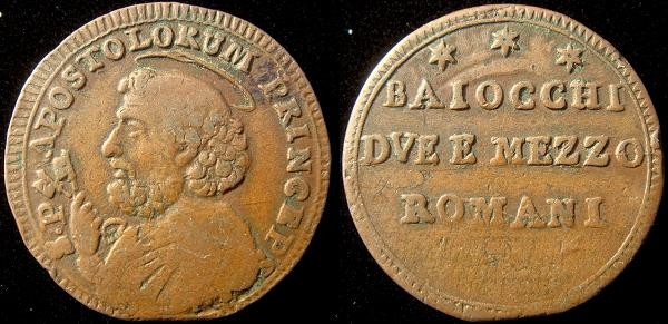 Pius VI 1796-7 2 1/2 Baiocchi Coin Photo