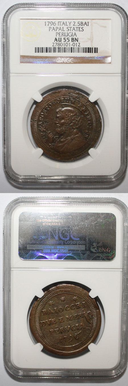 Pius VI 1796-Perugia 2.5 Baiocchi NGC AU55 Photo