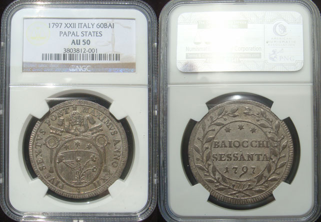 Pius VI 60 Baiocchi 1797 Papal Coin NGC AU50 Photo