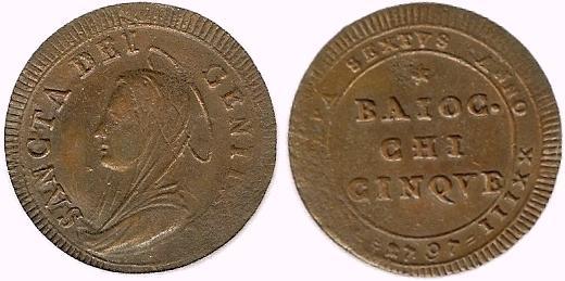 Pius VI 1797 Anno XXIII 5 Baiocchi Photo