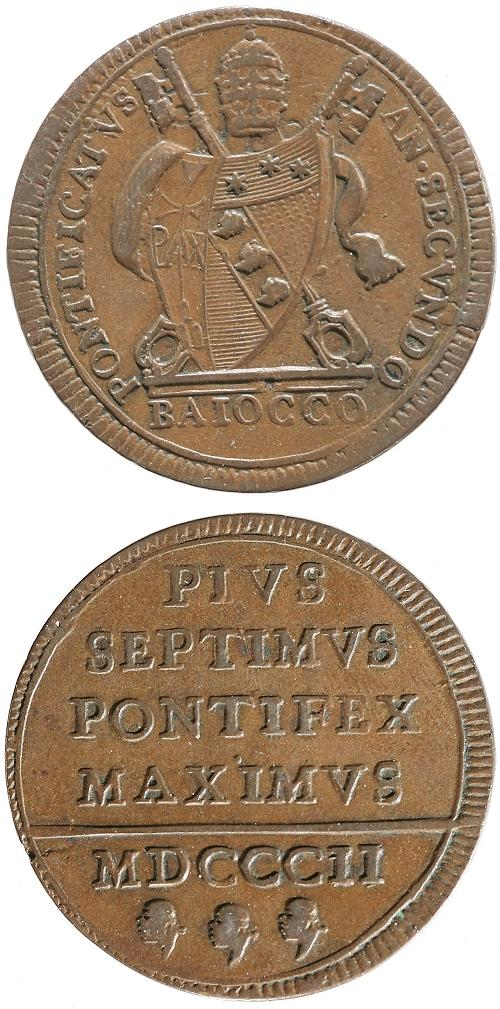 Pius VII 1802 Copper Baiocco aXF Photo