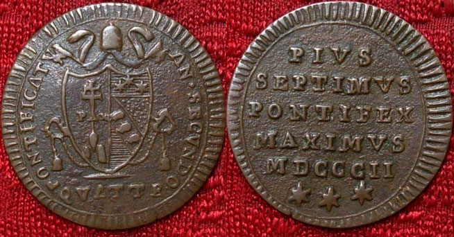 Pius VII 1802 Copper Quattrino Photo