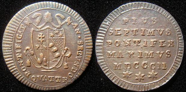 Pius VII 1802 Copper Quattrino XF Photo