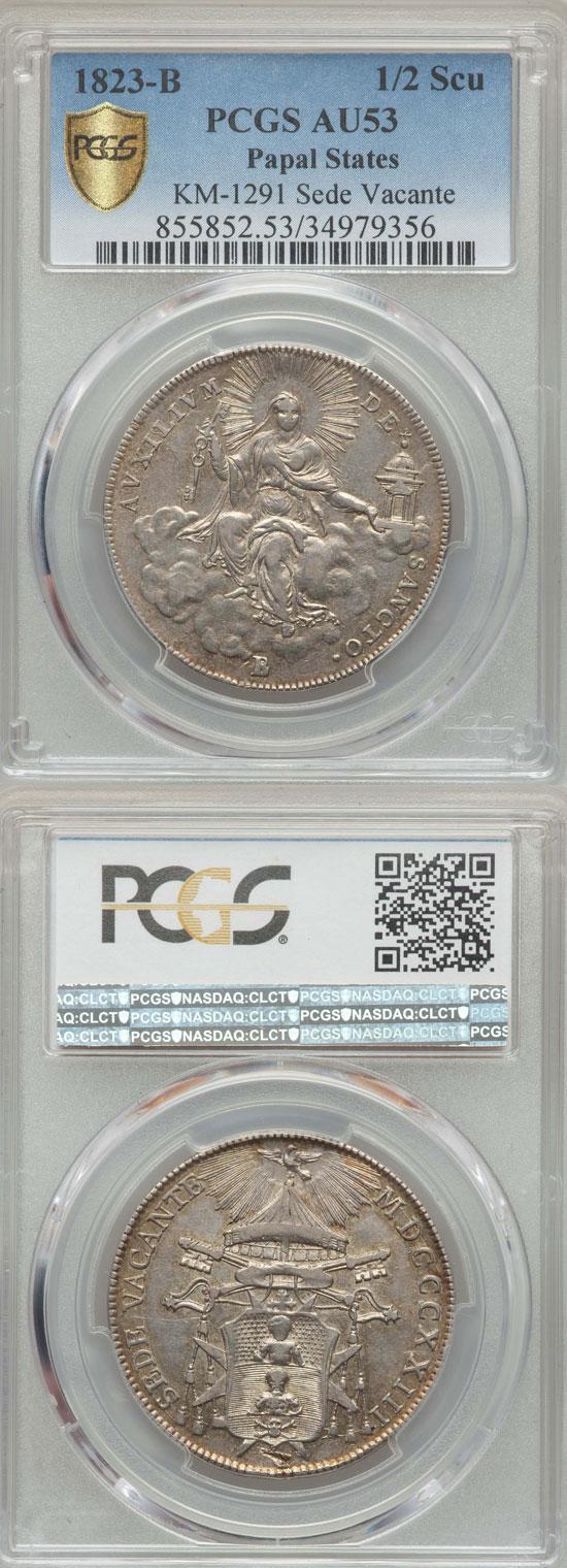 1823 Sede Vacante 1/2 Scudo Coin Photo