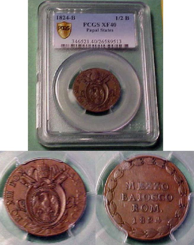 Leo XII 1824 Half Baiocco XF40 Photo