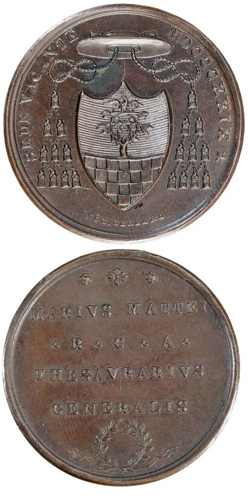 Sede Vacante 1829 Msgr. Mattei Medal Photo