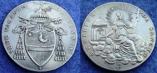 1829 Sede Vacante Scudo Romano Coin XF Photo