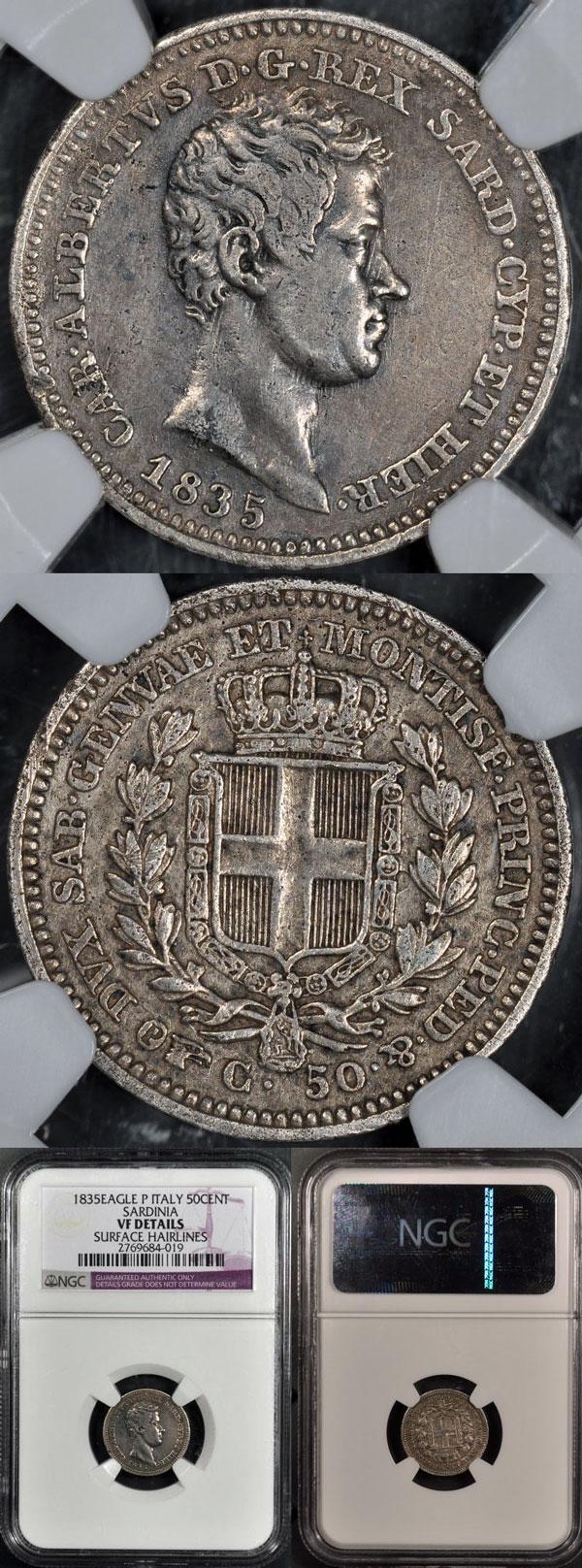 1835 Italy-Sardinia 50 Centesimi VF Details Photo