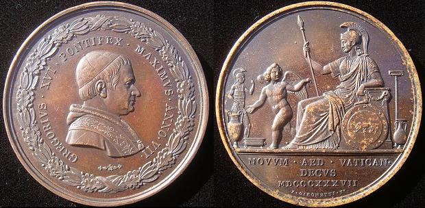 Gregory XVI 1837 Etruscan Museum 51mm Bronze Medal Photo