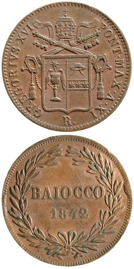 Gregory XVI 1842 Baiocco XF Photo