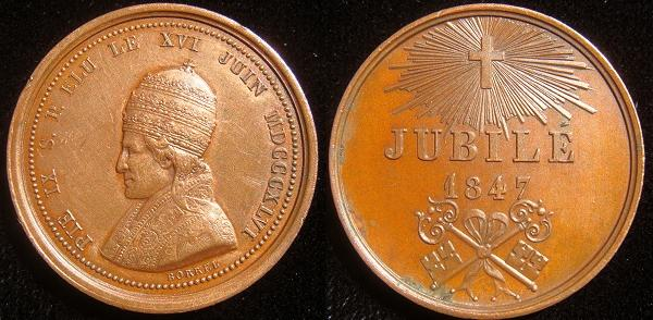 Pius IX 1847 Bronze Medal 26mm by Borrel Photo