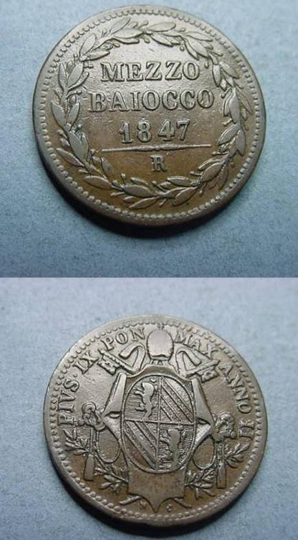 Pius IX 1847 Mezzo Baiocco Glossy VF Photo
