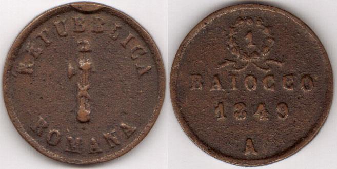 1849 Roman Republic Baiocco, Ancona Photo