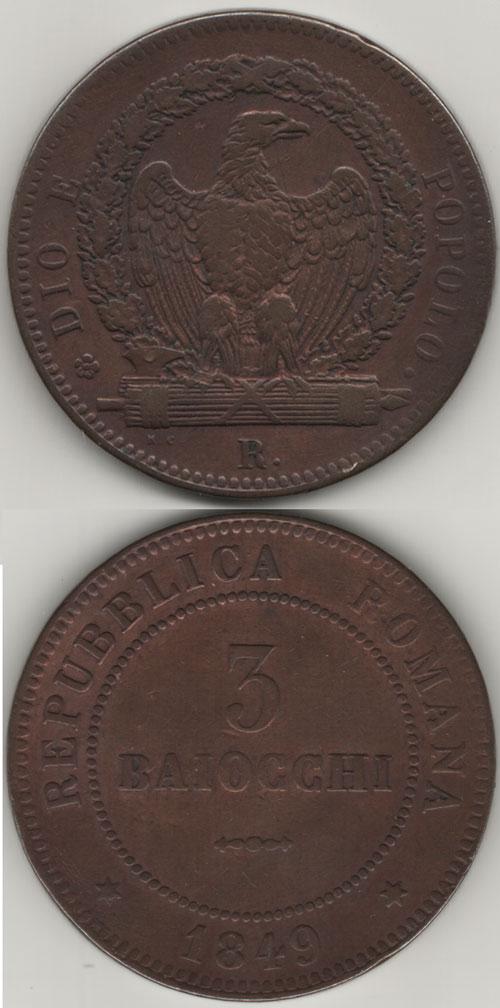 1849 Roman Republic 3 Baiocchi Photo