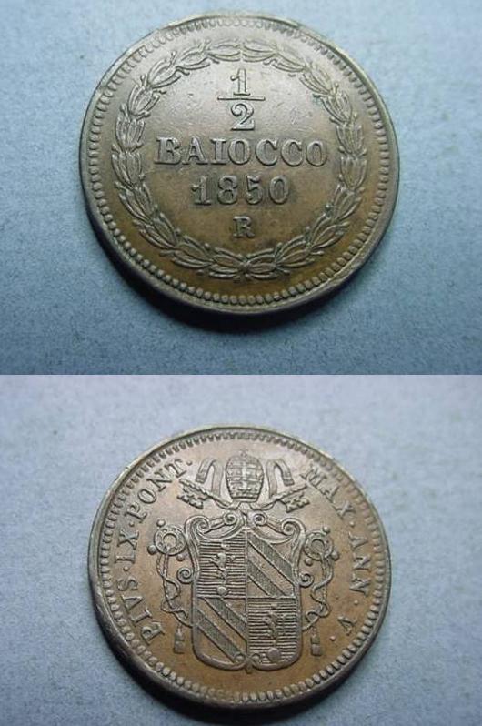 Pius IX 1850 Ann. V 1/2 Baiocco Glossy AU Photo