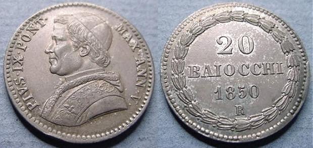 Pius IX 1850 Anno V 20 Baiocchi Silver AU Photo