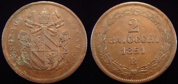Pius IX 1851-B Anno V 2 Baiocchi XF+ Photo